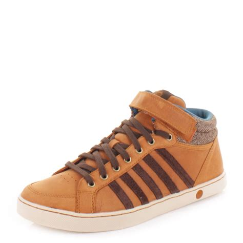 mens k swiss adcourt 72 mid top brown leather