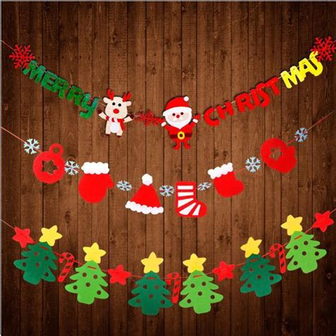 xmas party decoration diy felt fabric flags banner merry christmas santa clause tree snowflake