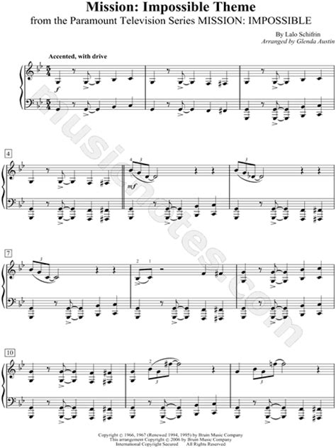 tutorial piano mission impossible lalo schifrin quot mission impossible theme quot sheet music