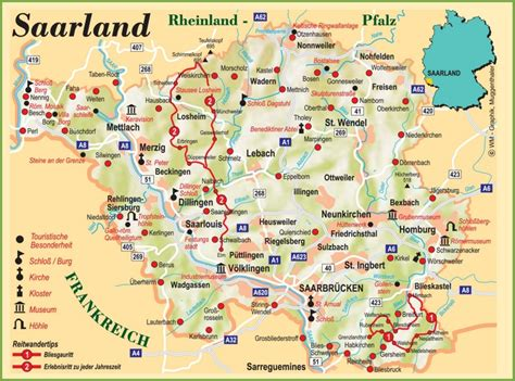 tourist map germany saarland tourist map