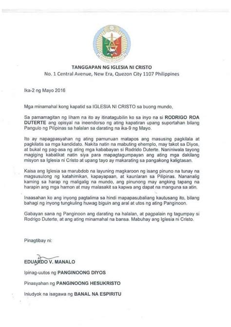 Endorsement Letter To The President Iglesia Ni Cristo Denies Endorsement Vows To Charge Forger Inquirer News