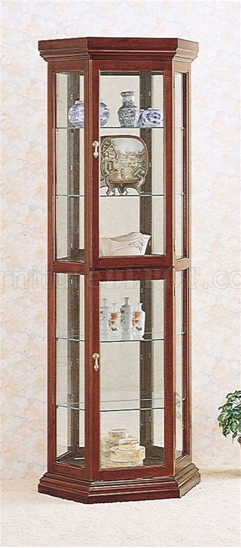 solid wood cherry finish contemporary curio cabinet