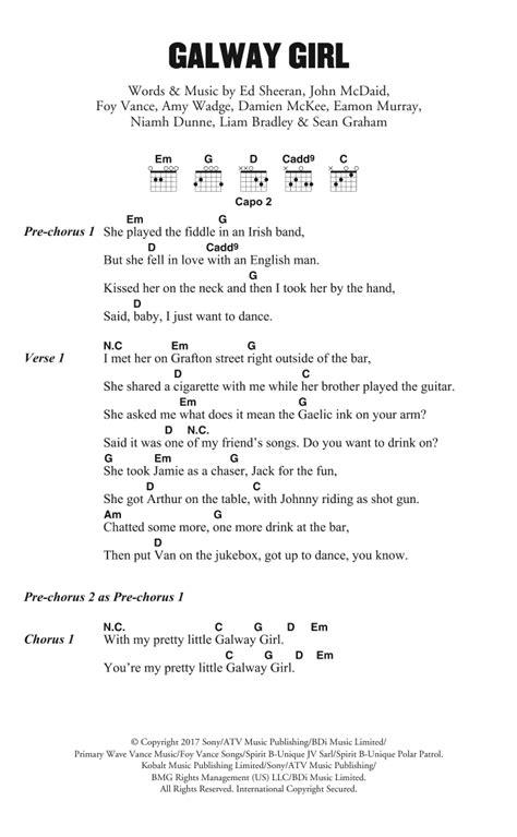 ed sheeran galway girl guitar chord sheet music at stanton s sheet music