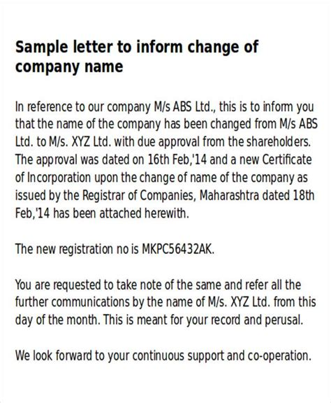 Letter Of Intent For Change Of Business Name Sle Business Name Change Letter 6 Exles In Word Pdf