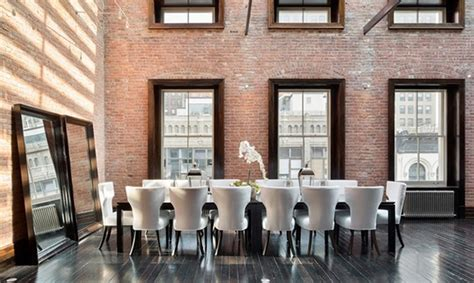 dazzling dining room designs with brick wall