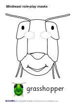 printable grasshopper mask minibeast role play masks b w sb1333 sparklebox