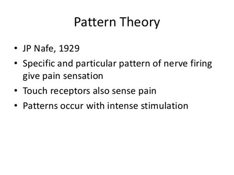 pattern theory pain pain and discomfort