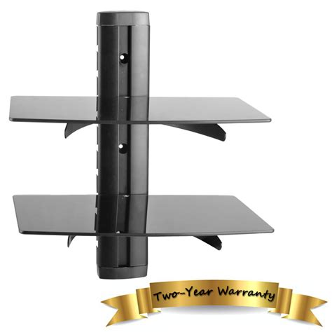 black glass wall mounted 2 shelves dvd player lcd led tv