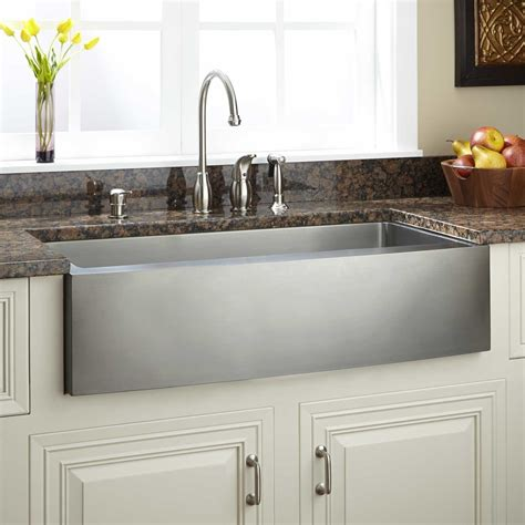Stainless Farmhouse Kitchen Sinks 39 Quot Optimum Stainless Steel Farmhouse Sink Curved Apron Kitchen