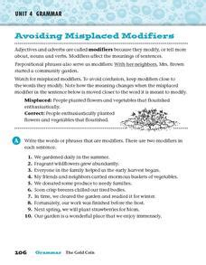 misplaced modifier worksheet high school avoiding misplaced modifiers 4th 5th grade worksheet lesson planet