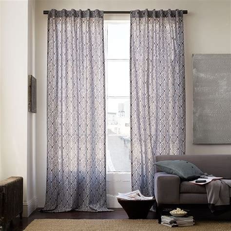 Contemporary Window Curtains Cotton Canvas Printed Geo Leaf Window Panel Modern Curtains By West Elm