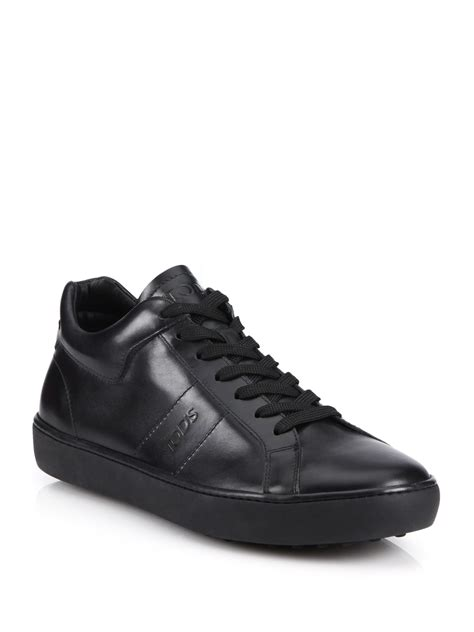 leather sneakers tod s solid leather sneakers in black for lyst
