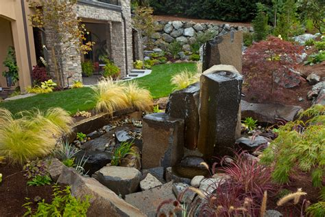 Water Garden Features Ideas Cool Outdoor Rock Water Fountains Decorating Ideas Images