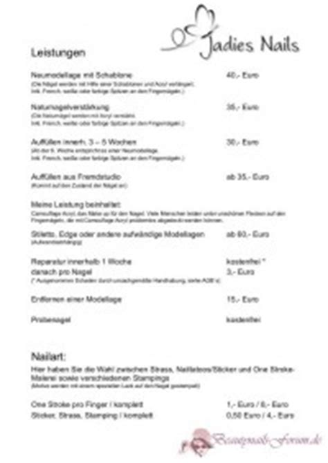 Kosten Nagelstudio by Nagelstudio Geln 228 Gel Preise Paayerpanama