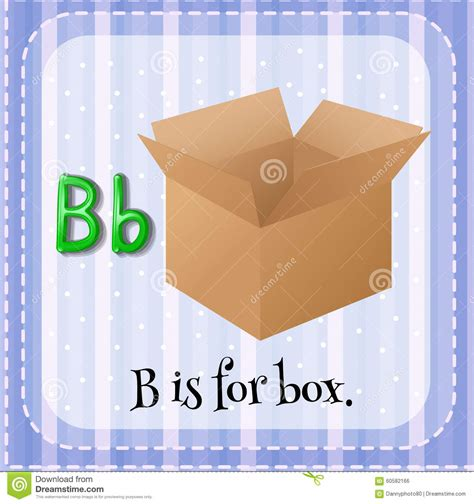 for for flashcard letter b is for box stock illustration image