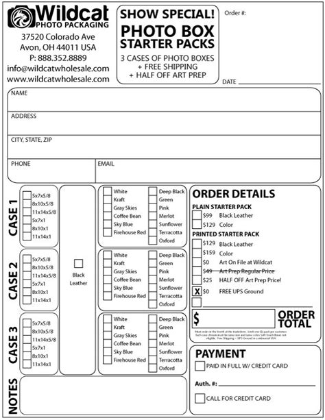 trade show order form template trade show order form wildcat wholesale llc