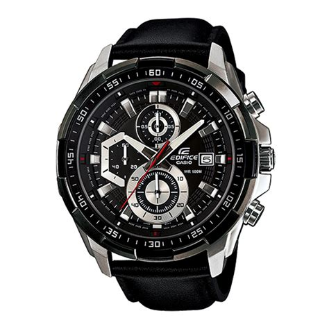 Casio Edifice Efr 539 Black casio edifice efr 539l 1av black leather wrist