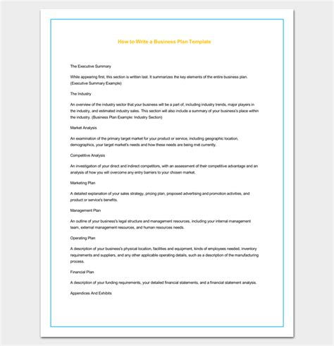 template for writing a business plan business outline template 20 free sles formats