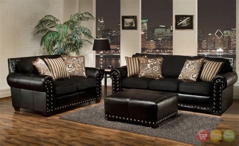 Black Leather Living Room Sets Sofa Sets