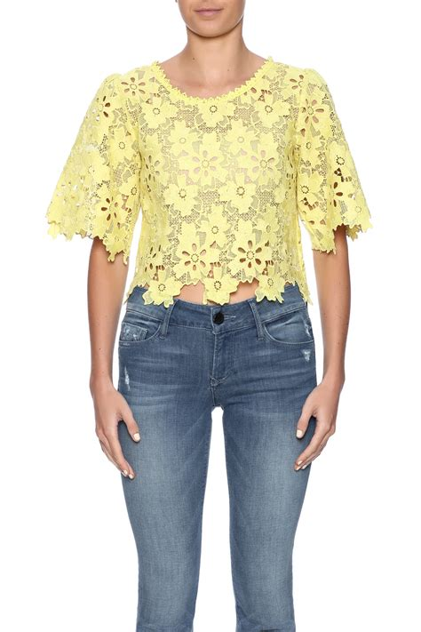 Lace Top B L F pink penguin yellow floral lace top from west