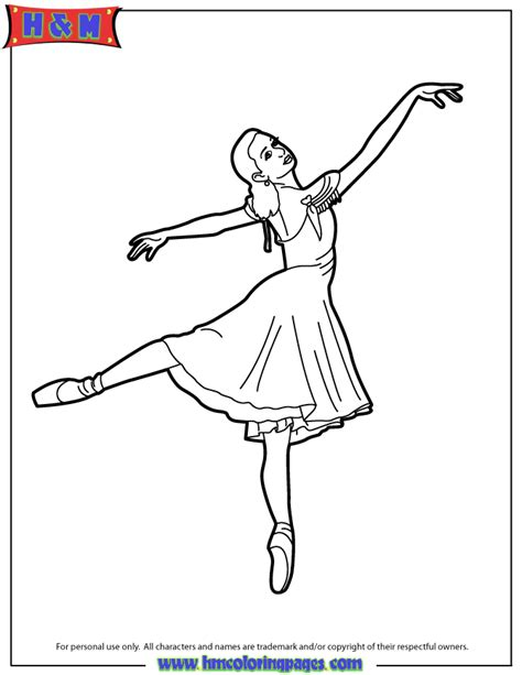 ballerina wearing pointe shoes tip toe coloring page h