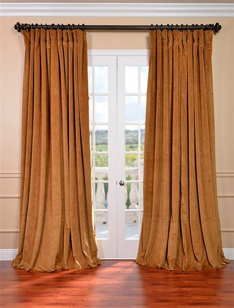 wide pocket valance curtain signature amber gold double wide velvet blackout pole