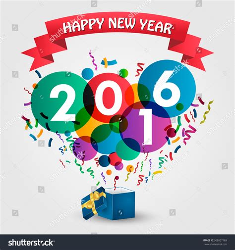 happy new year 2016 template happy new year 2016 celebration with gift box and colorful