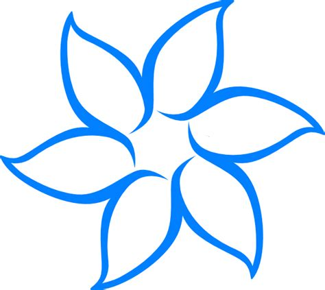 Blue Outline by Blue Flower Outline Clip At Clker Vector Clip Royalty Free Domain