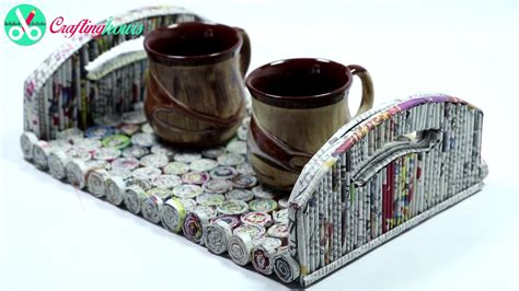 best out of waste craft diy serving tray using newspaper