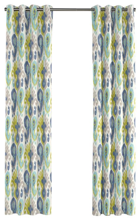 blue ikat curtain aqua blue and green ikat grommet curtain mediterranean