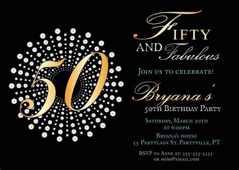 Free 50th Birthday Card Template by Create Own 50th Birthday Invitations Free Templates