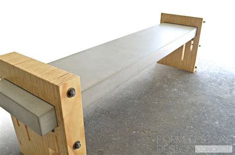 wood and concrete bench concrete wood steel urban industrial bench