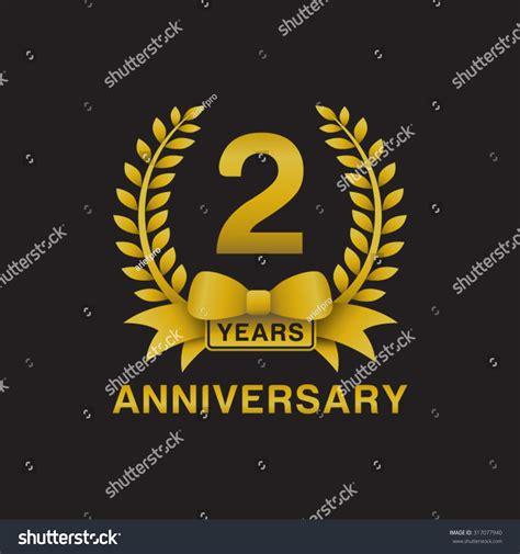 2nd anniversary golden wreath logo black background stock