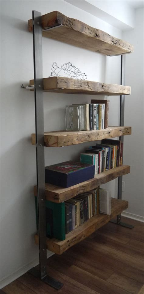 made reclaimed barn wood and metal shelves by