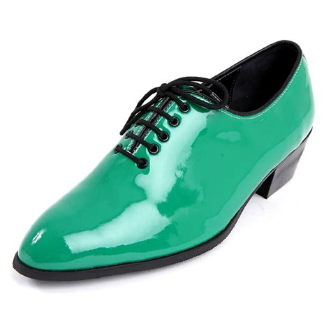 mens toe glossy green lace up oxfords high