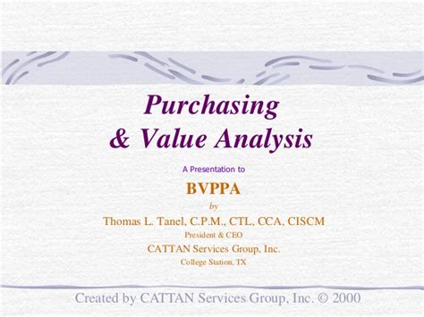 purchasing value analysis