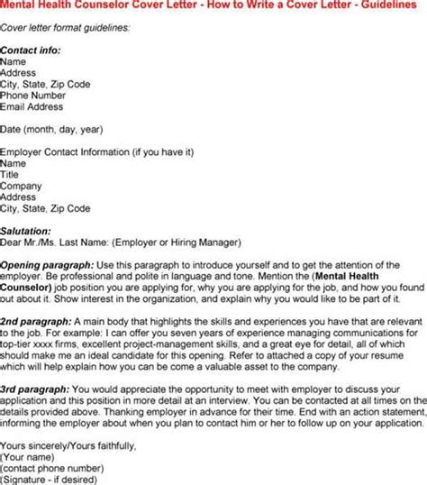 Mental Health Cover Letter by Mental Health Counselor Cover Letter Exles