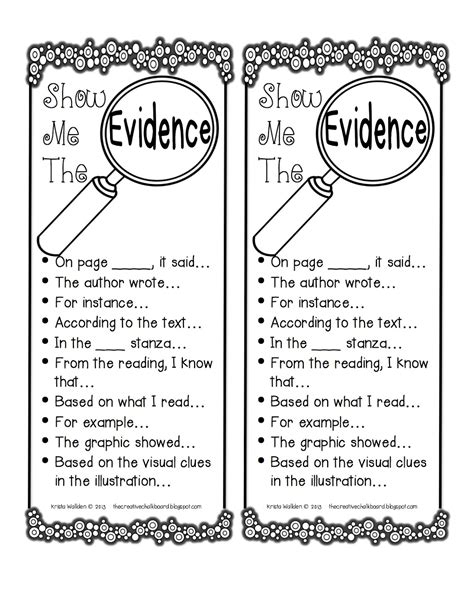 Citing Evidence Worksheet by The Creative Chalkboard Showing Evidence Freebie And New