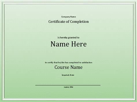class completion certificate template course completion certificate