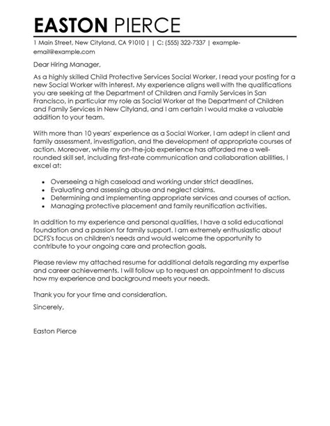 cover letter for family service worker social services cover letter exles livecareer