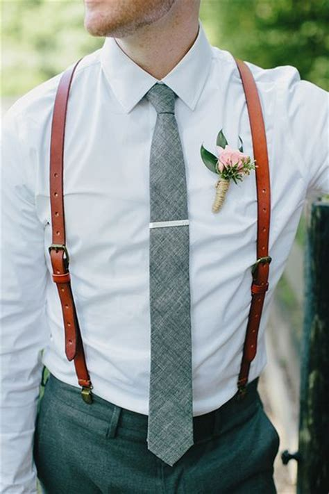 mens wedding attire with suspenders stitched leather suspenders s s by