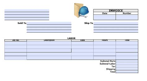 parts and labor invoice template free labor invoice template printable invoice template