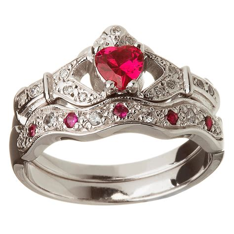Wedding Ring Ruby by 14k White Gold Ruby Set Claddagh Ring Wedding Ring Set