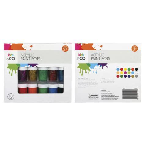 acrylic paint set kmart 18 pack acrylic paint pots kmart