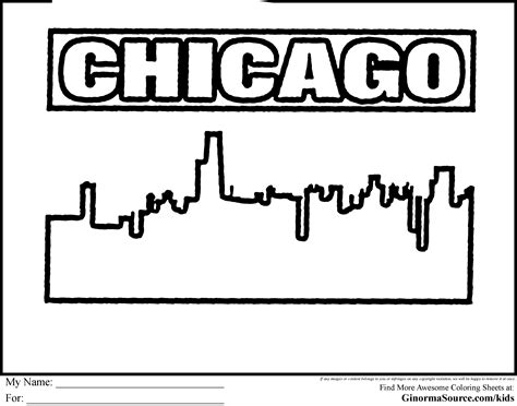 coloring pages skyline of chicago