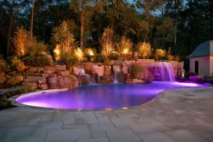 Pool Landscape Lighting Ideas Luxury Swimming Pool Spa Design Ideas Outdoor Indoor Nj