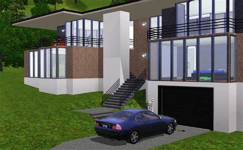 Garage Maison Moderne Interieur by Sims 3 Maison Moderne Au Toit Large Architecture Maison