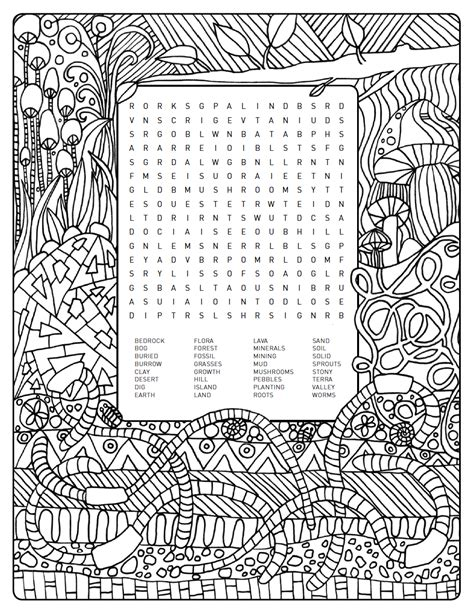 earthy themed word search colouring page    grabs