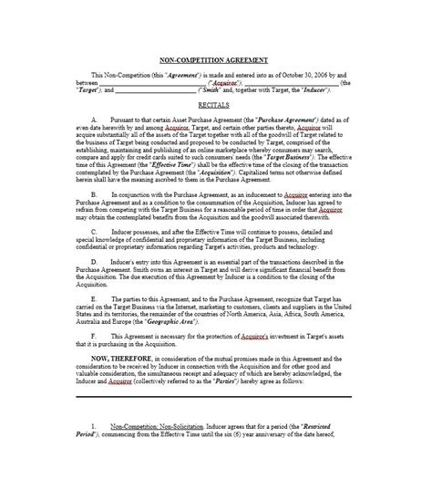 39 Ready To Use Non Compete Agreement Templates Template Lab Non Compete Release Letter Template
