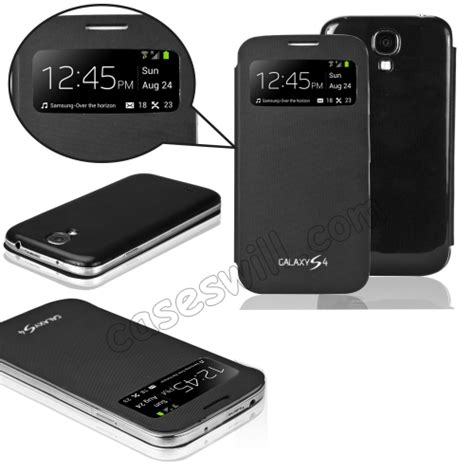 shop black samsung galaxy s4 i9500 s view caller id flip cover glass gt i9500
